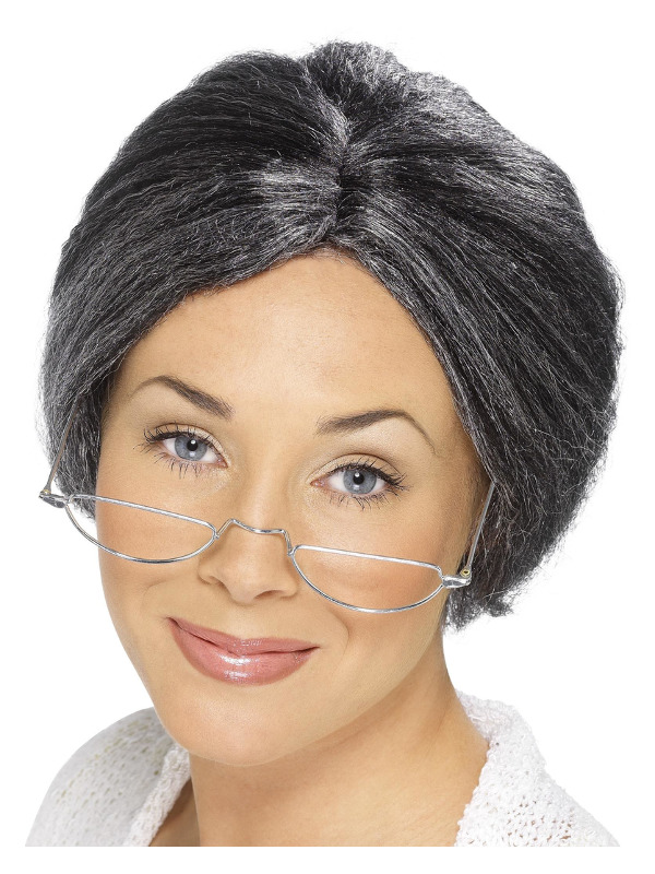 Granny Bun Wig, Grey