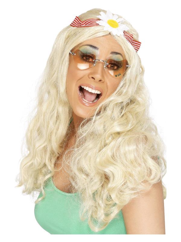 Groovy Wig, Blonde, with Daisy Headband
