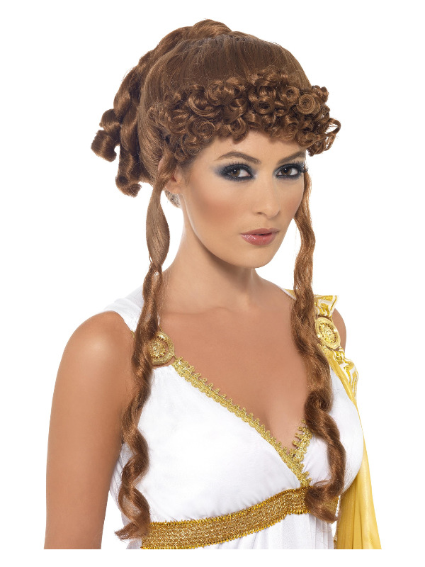 Helen of Troy Wig, Brown, with Curls