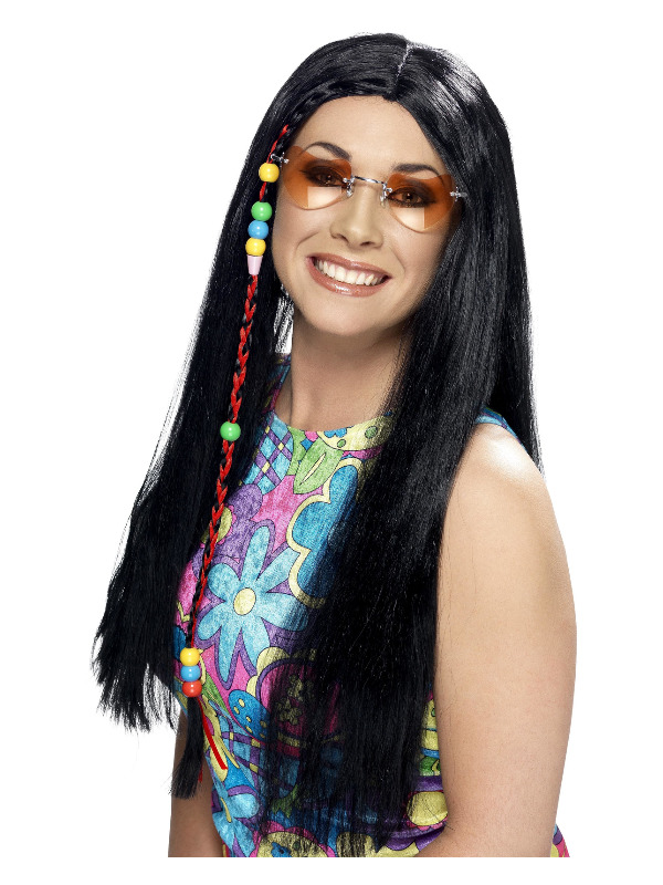 Hippy Party Wig, Black, Long with Coloured Beads