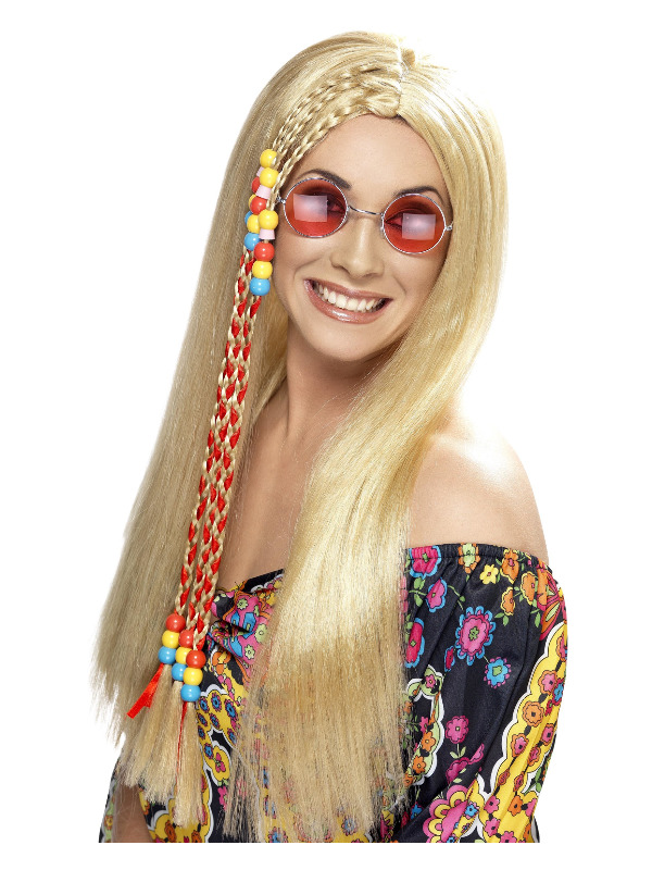 Hippy Party Wig, Blonde, Long with Coloured Beads
