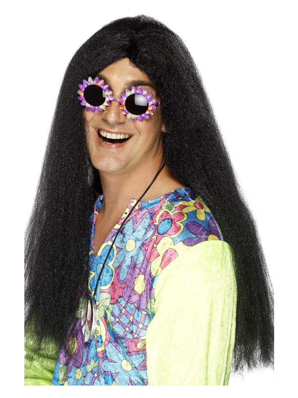 Hippy Wig, Black, Long with Centre Parting