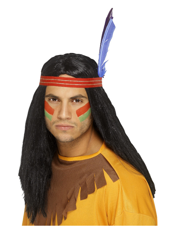 Native American Inspired Brave Wig, Black, Long, Straight, with Headband and Feather