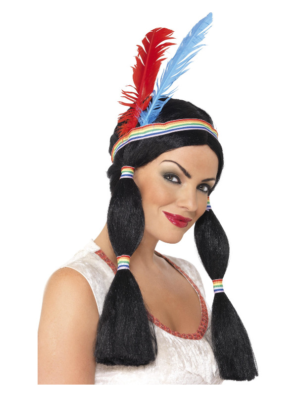 Native American Inspired Princess Wig, Black, Long with Bunches, with Headband and Feathers