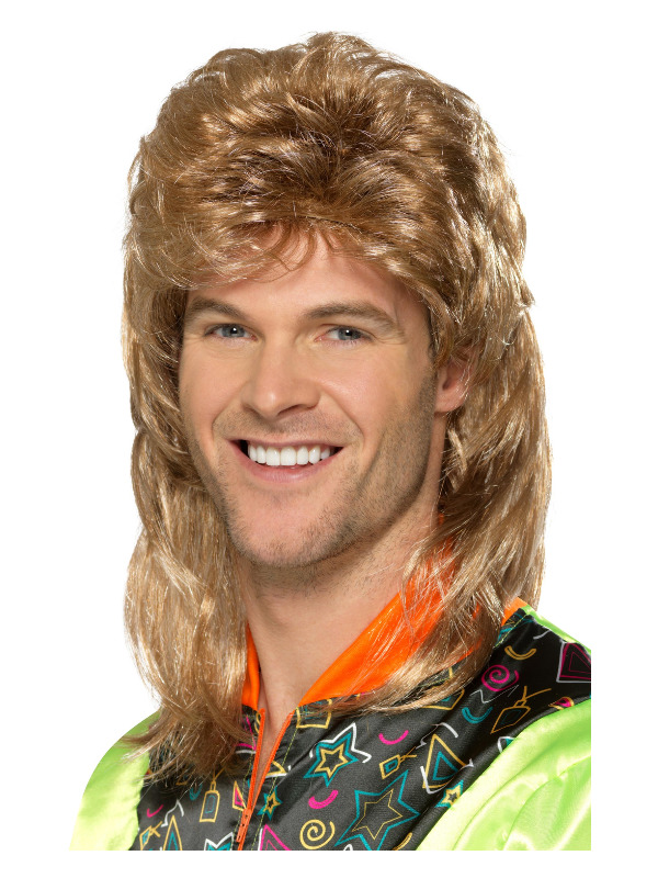 Mullet Wig, Brown, with Blonde Highlights