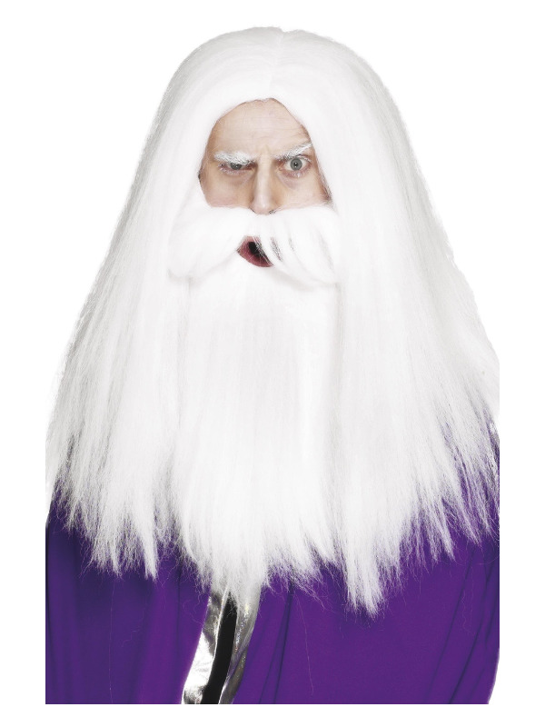 Magician Set, White, with Wig & Beard