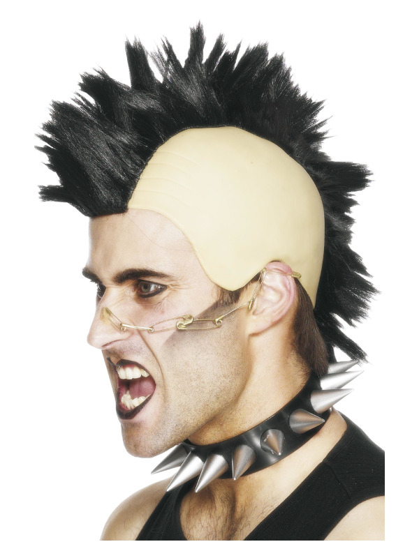Mohican Wig, Black, with Latex Cap