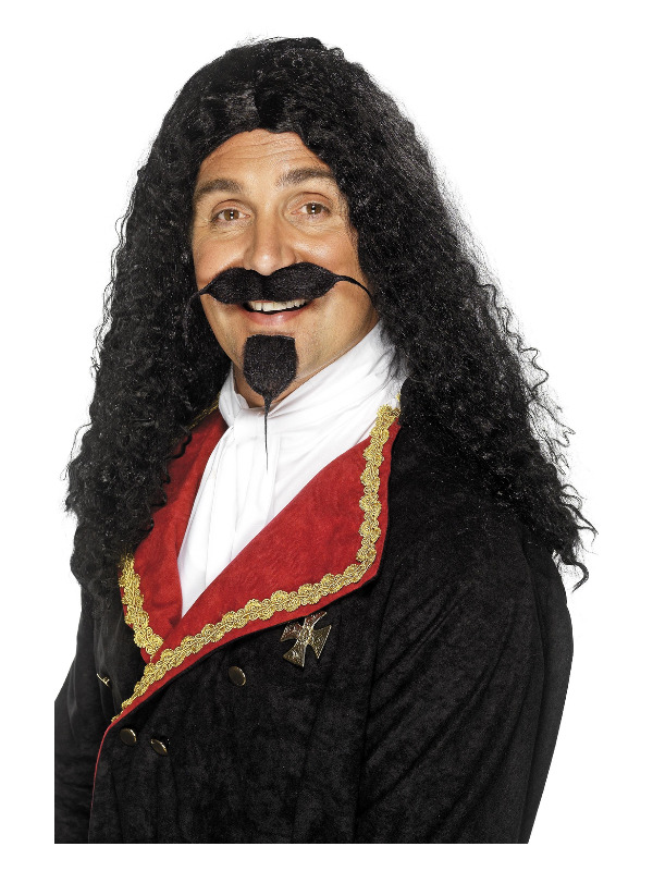 Musketeer Wig, Black, Long and Frizzy