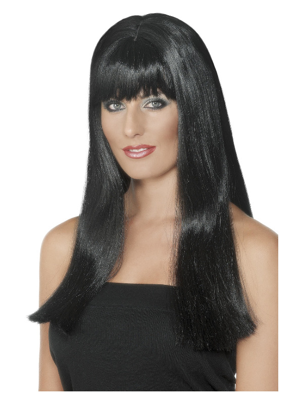 Mystique Wig, Black, Long with Fringe and Skin Parting