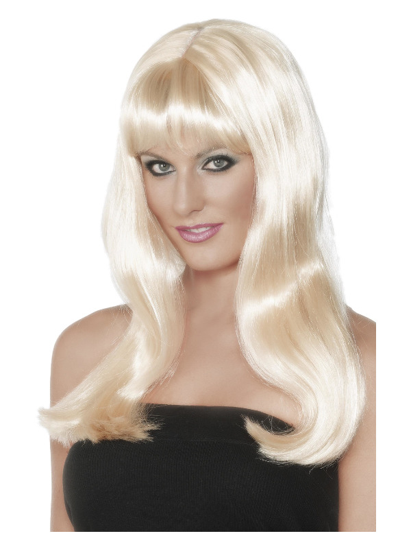 Mystique Wig, Blonde, Long with Fringe and Skin Parting