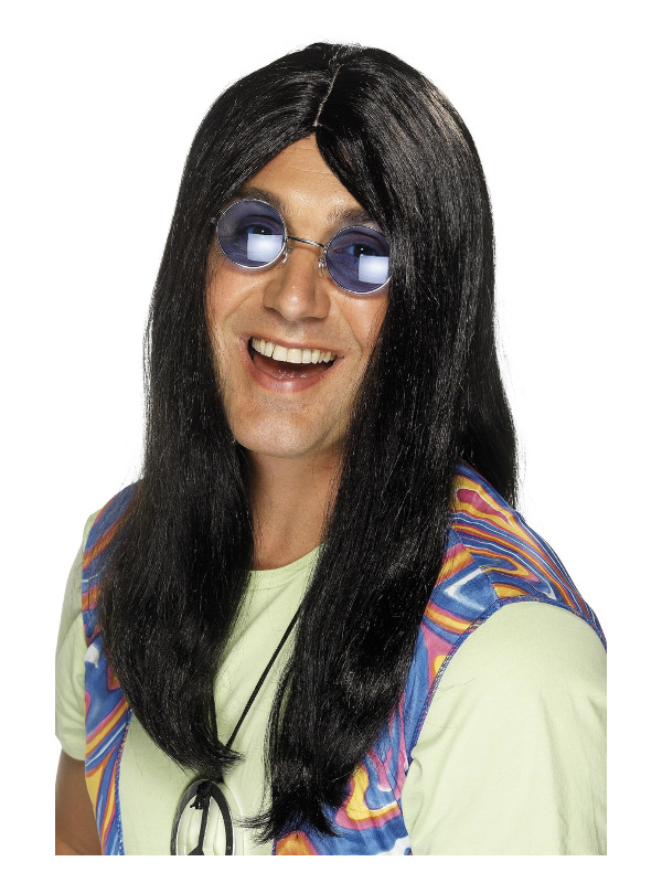 Neil Hippy Wig, Black, with Side Parting