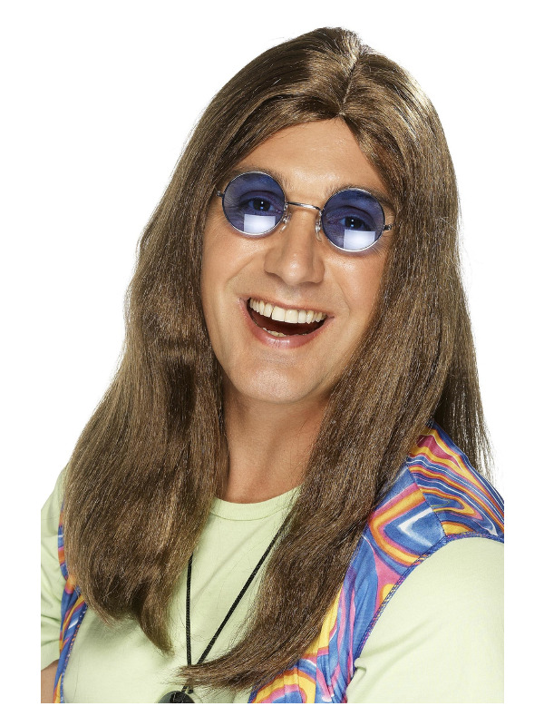 Neil Hippy Wig, Brown, with Side Parting