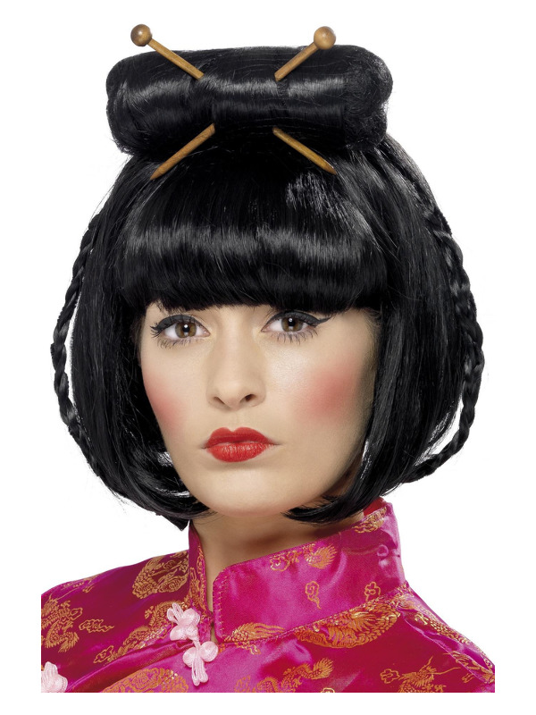 Oriental Lady Wig, Black, Mid Length with Chopsticks