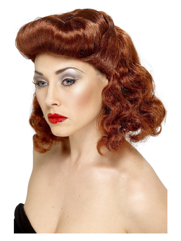 Pin Up Girl Wig, Auburn, with Loose Curls