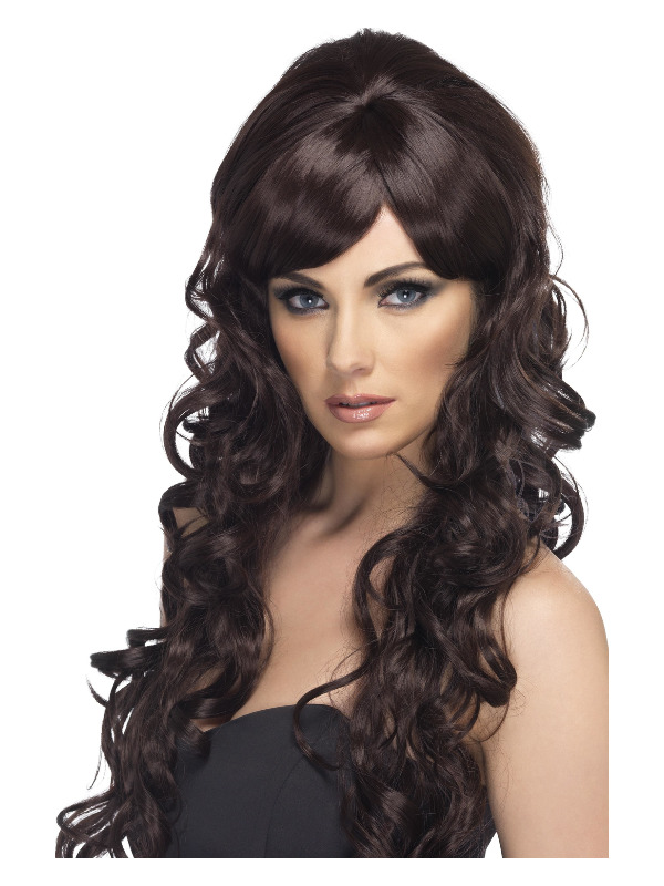 Pop Starlet Wig, Brown, Long and Curly