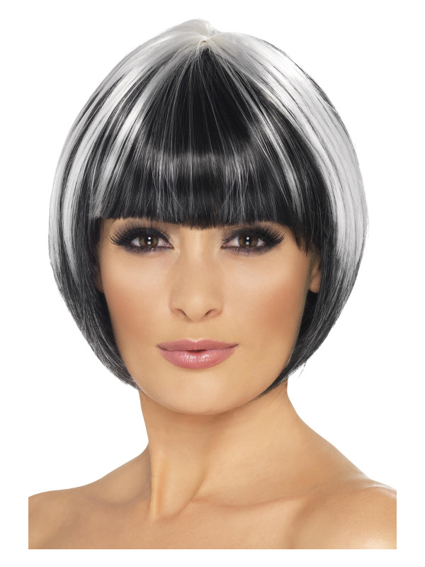 Quirky Bob Wig, Black, with White Streaks