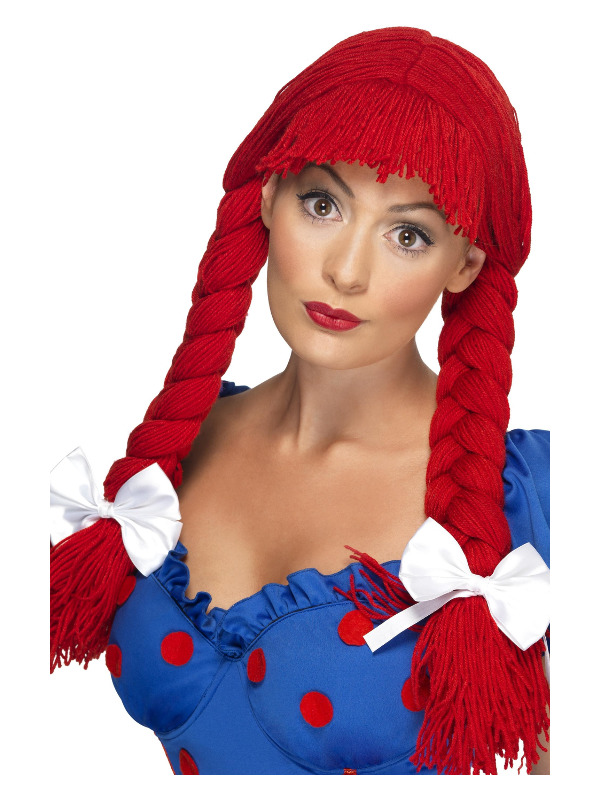 Rag Doll Wig, Red, Pigtails with a Fringe and Bows