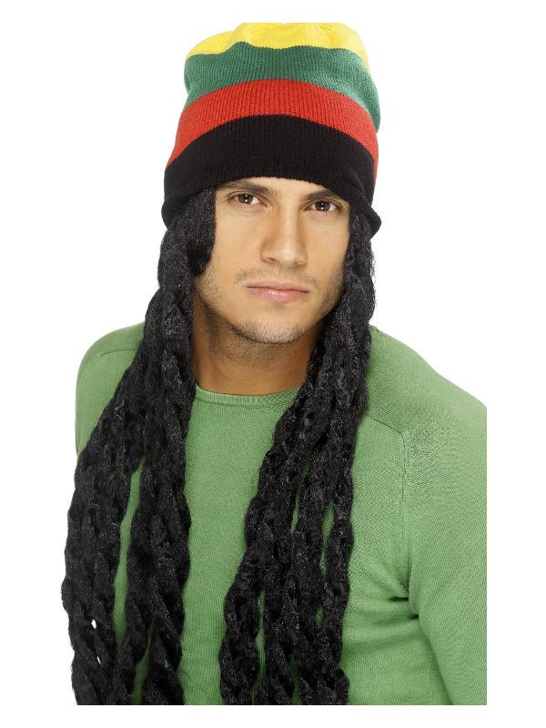 Rasta Hat, Black, with Long Deadlocks