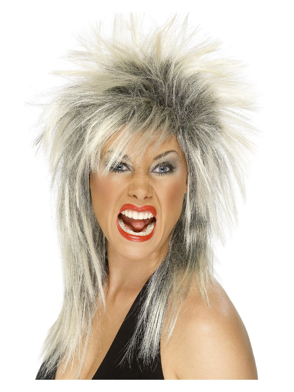 Rock Diva Wig, Two Tone, Blonde & Black, Long Mullet
