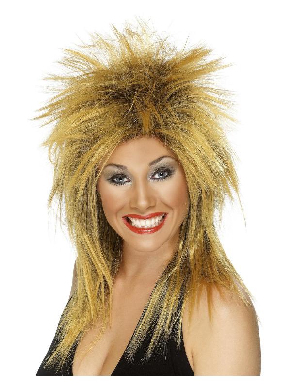 Rock Diva Wig, Ginger, Long Mullet