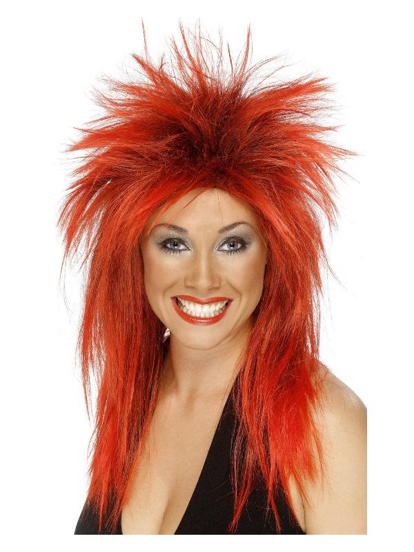 Rock Diva Wig, Red, Long Mullet