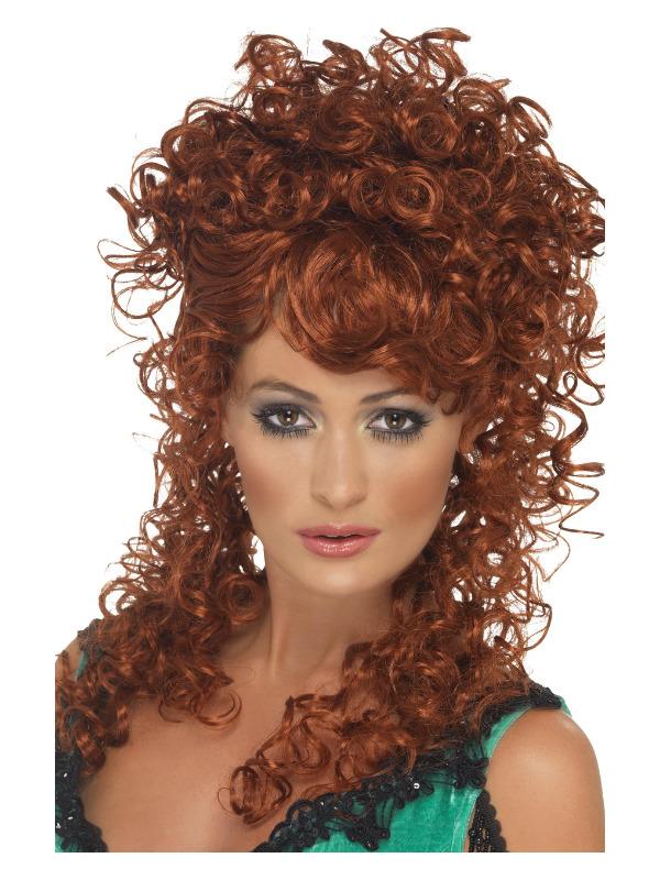 Saloon Girl Wig, Auburn, Long and Curly