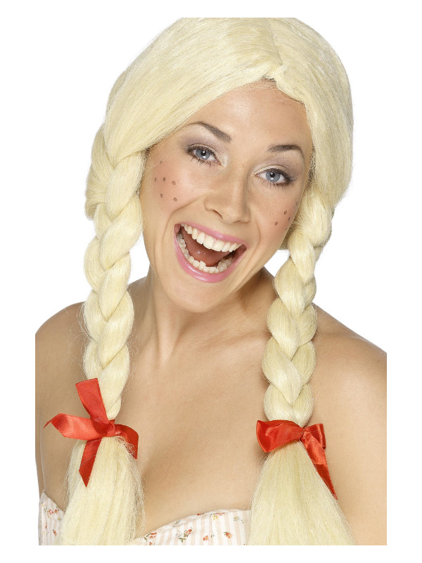 Schoolgirl / Dutch Wig, Blonde,  Plaits with Ribbons