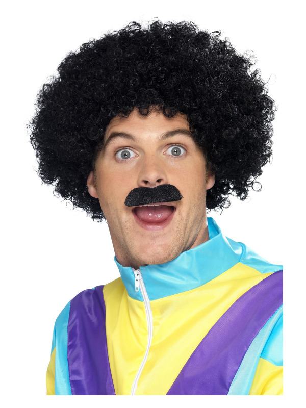 Scouser Kit, Black, with Curly Wig & Tash