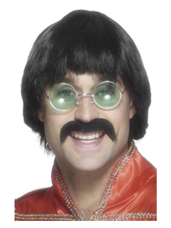 70s Mersey Wig & Tash, Black, Short Styled