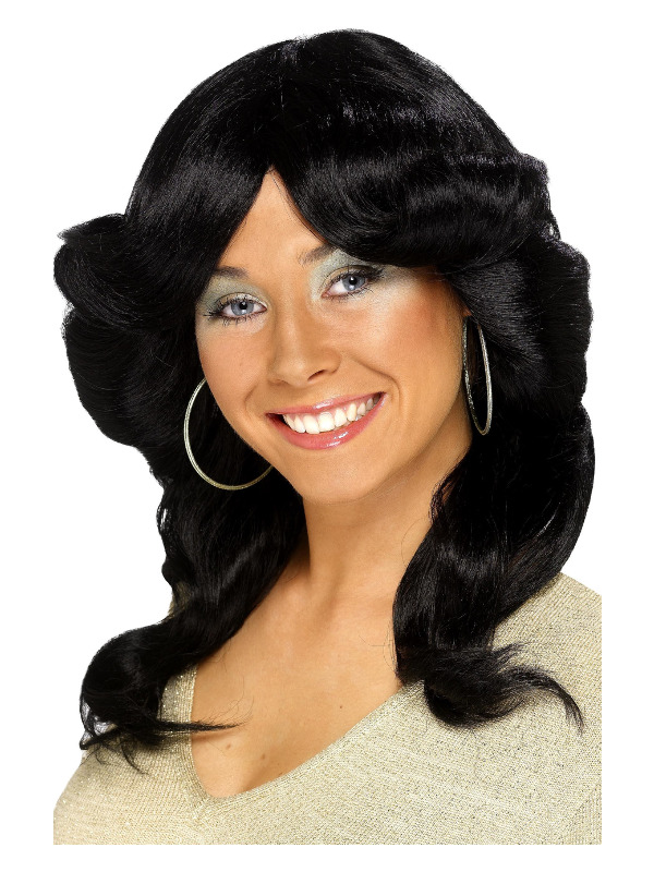 70s Flick Wig, Black, Long, Wavy and Layered