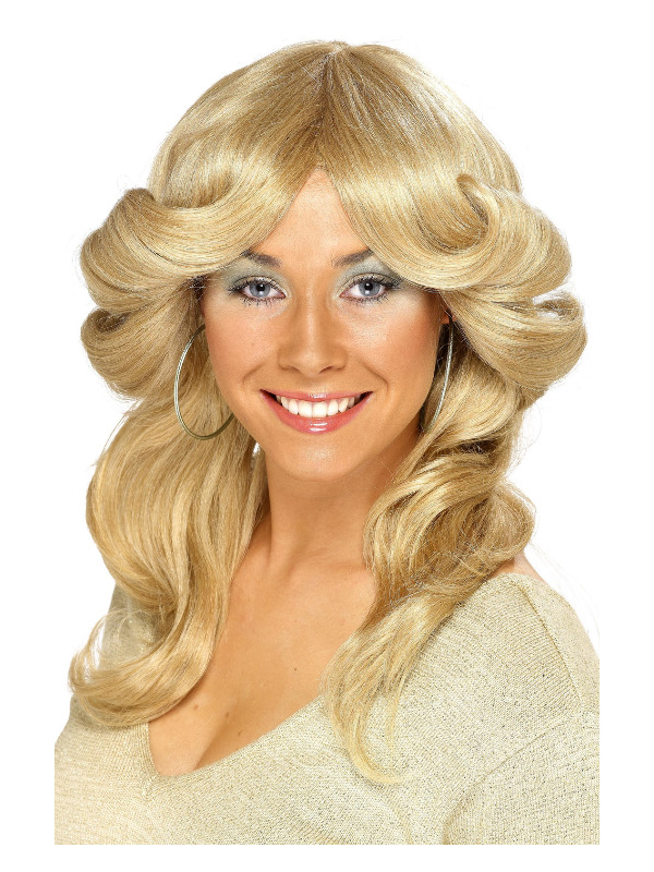 70s Flick Wig, Blonde, Long, Wavy & Layered