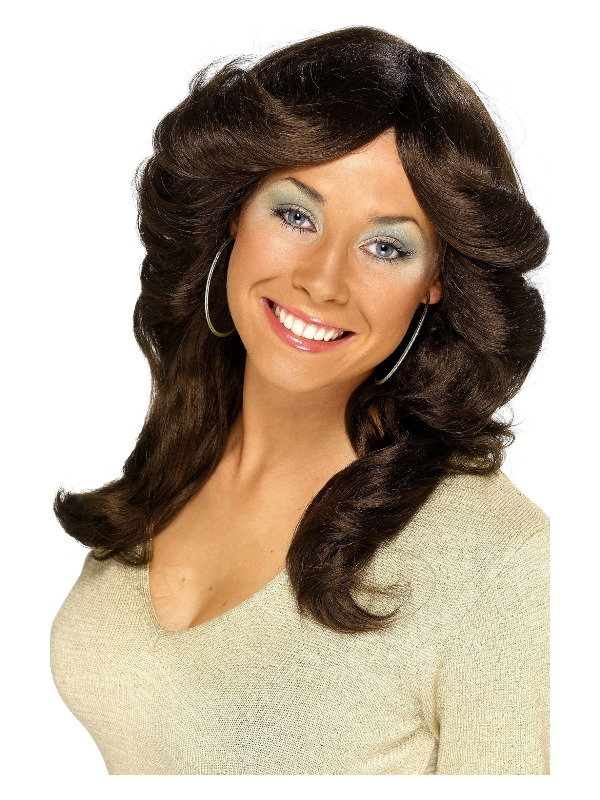 70s Flick Wig, Brown, Long, Wavy and Layered