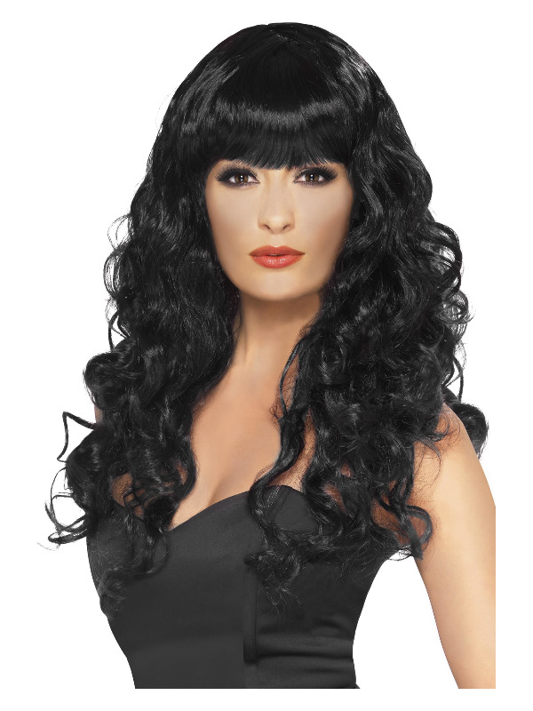 Siren Wig, Black, Long, Curly with Fringe