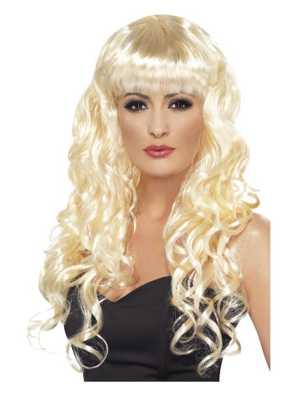Siren Wig, Blonde, Long, Curly with Fringe