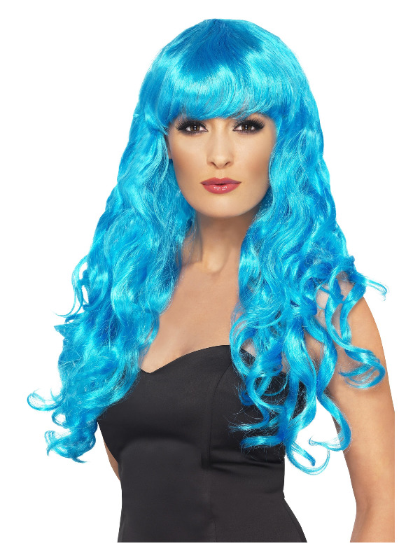 Siren Wig, Blue, Long, Curly with Fringe