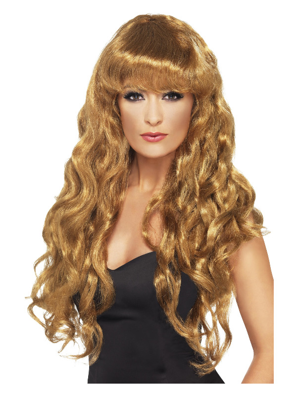 Siren Wig, Brown, Long, Curly with Fringe