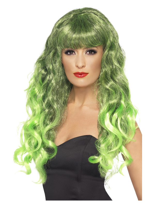 Siren Wig, Green and Black, Long, Curly with Fringe