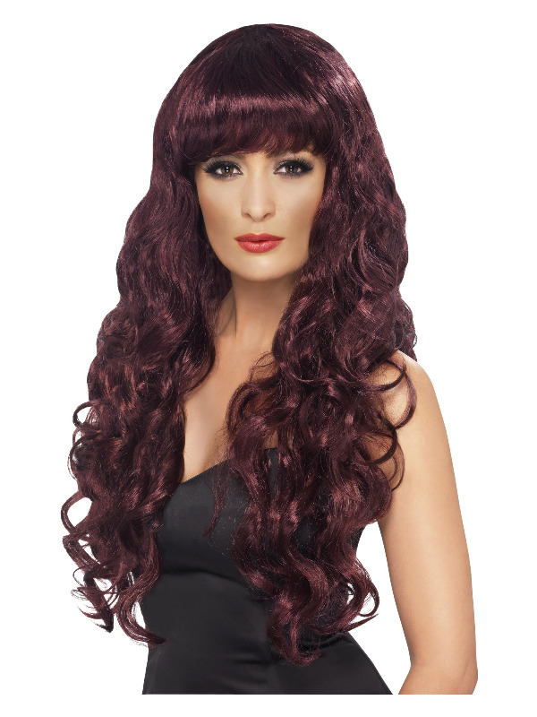 Siren Wig, Maroon, Long, Curly with Fringe