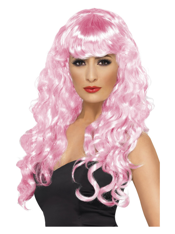 Siren Wig, Pink, Long, Curly with Fringe