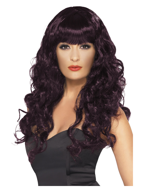 Siren Wig, Plum, Long, Curly with Fringe
