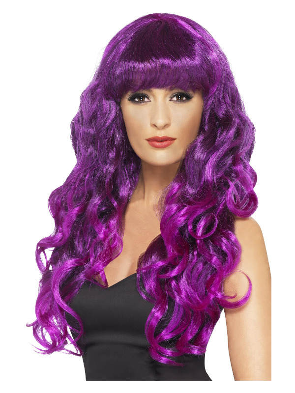 Siren Wig, Purple, Long, Curly & with Fringe