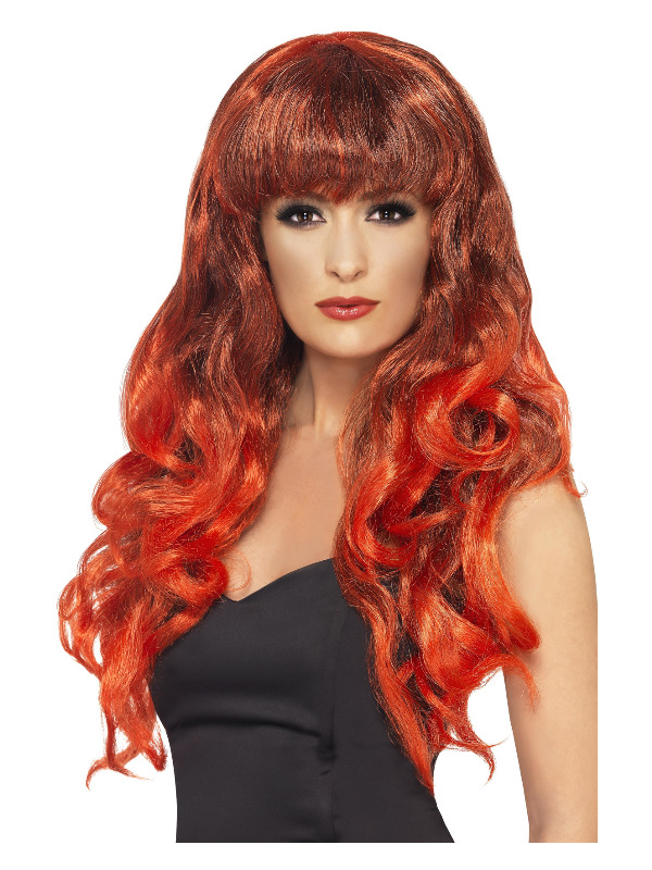 Siren Wig, Red & Black, Long, Curly with Fringe