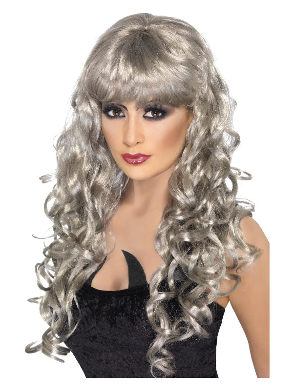 Siren Wig, Silver, Long, Curly with Fringe