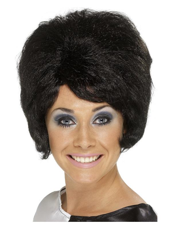 60s Beehive Wig, Black, Short