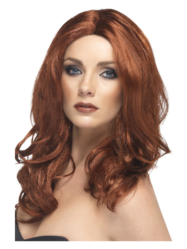 Superstar Wig, Auburn, Long, Wavy, with Skin Parting