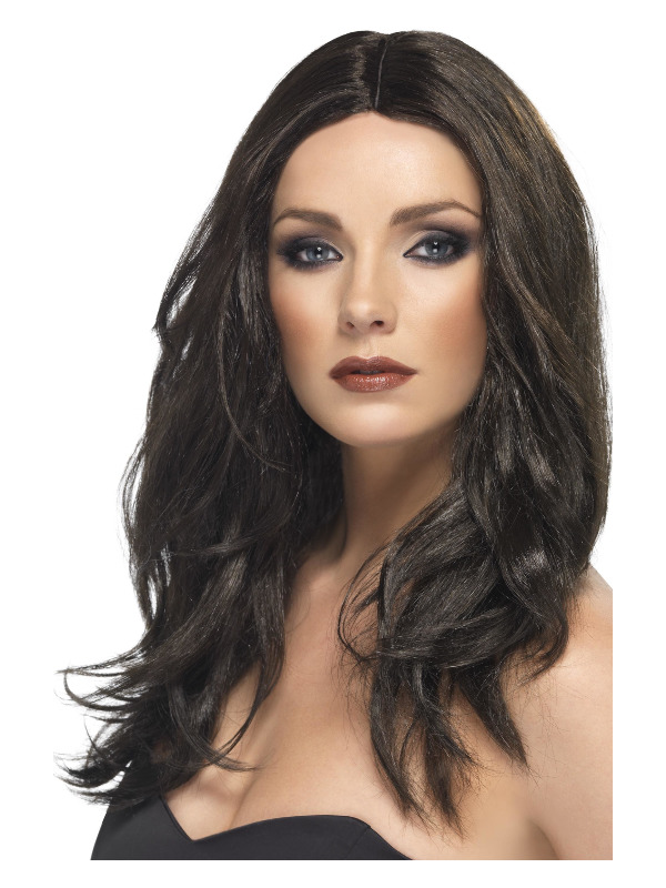 Superstar Wig, Dark Brown, Long, Wavy, with Skin Parting