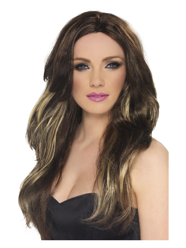 Temptress Wig, Brown and Blonde, Long, Wavy