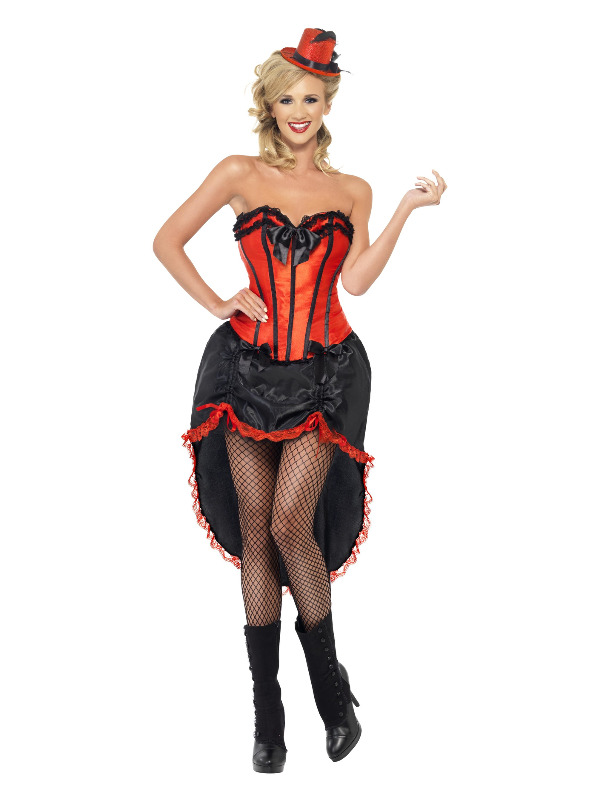 Burlesque Dancer Costume, Red & Black