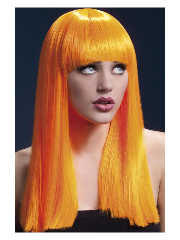 Fever Alexia Wig, Neon Orange, Long Blunt Cut with Fringe, 48cm / 19in