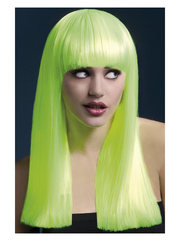 Fever Alexia Wig, Neon Yellow, Long Blunt Cut with Fringe, 48cm / 19in